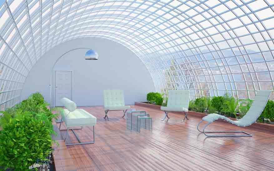 Tonnendach aus Glas
